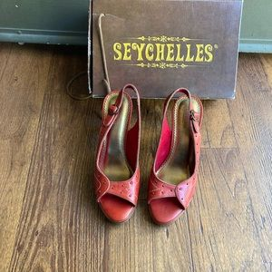 New Seychelles Red Leather Shoes Size 8